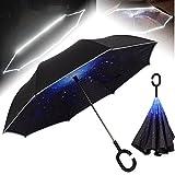 NEWBRELLAs Drip Free Reflective SOS LED Safety Car Umbrella Inverted - UV Protection Umbrellas