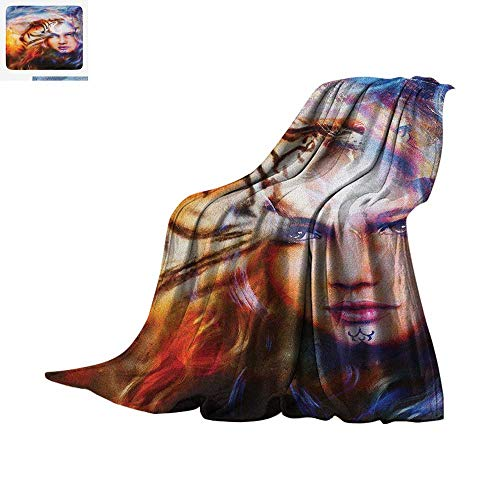 Mystic Digital Printing Blanket Mighty Tiger and Lion Head with Woman Face on Ornamental Background Artwork Oversized Travel Throw Cover Blanket 50
