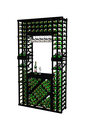 Vintner Series Wine Rack Tasting Center with Two Display Rows and Open Diamond Bin for 152 Bottles - 7 Ft - Allheart Redwood with Midnight Black Stain - Glass Rack ()