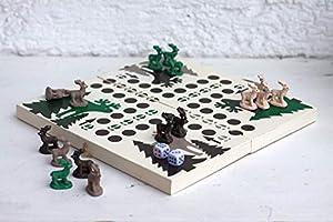 Brettspiel - ärger dich nicht - Holz Spiel mit Tierfiguren