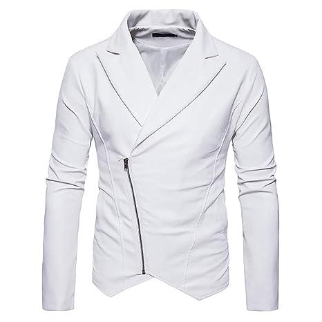 ... motorista de los hombres cremallera outwear solapa delgado abrigo de cuero de imitación de cuero delgada de la personalidad camisetas camisa: Amazon.es: ...