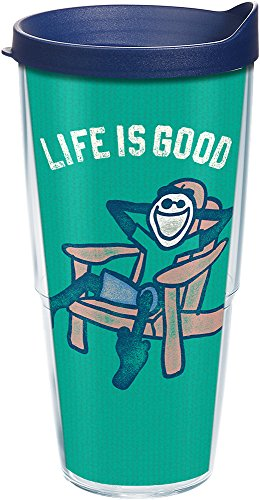 Chair Tumbler Adirondack - Tervis 1240526 Life Is Good-Adirondack Chair Insulated Tumbler with Wrap and Navy Lid, 24oz, Clear