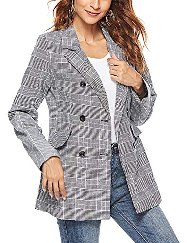 Jessica CC Women's Casual Check Plaid Double Breasted Blazer Jacket S-XL (Gray, Large)