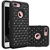 iPhone 7 Plus Case, SAUS [Drop Protection/Shock Absorption Technology] Studded Rhinestone Crystal Bling