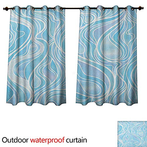aviolet Protective Curtains Stained Glass Patterned Ornamental Design Wavy Stripes Abstract Composition W120 x L72(305cm x 183cm) ()