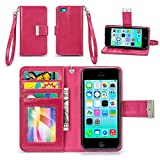iPhone 5C Case, IZENGATE [Classic Series] Wallet Case Premium PU Leather Flip Cover Folio with Stand for Apple iPhone 5C (Deep Rose Pink)