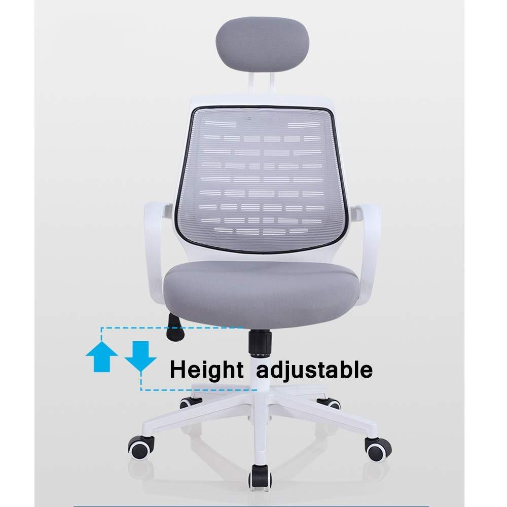 HPLL kontorsstol mesh kontorsstol, ergonomisk hög rygg dator skrivbord svängbar stol med nackstöd och nylonarmstöd, justerbar höjd – 7 färger svängbar stol (färg: blå) grön-2