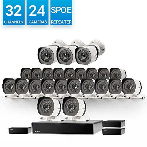 Zmodo 32 Channel 720p HD Network NVR 24 x Weatherproof IP HD Video Camera Security System w/sPoE Repeater for Flexible Installation and Extension, Customizable Motion Detection, 8 More Cameras Addable by Zmodo