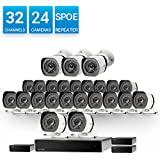 Zmodo 32 Channel 720p HD Network NVR 24 x Weatherproof IP HD Video Camera Security System w/sPoE Repeater for Flexible Installation and Extension, Customizable Motion Detection, 8 More Cameras Addable