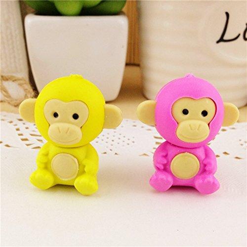 Katoot@ 6 pcs/lot Cute stationery Monkey rubber erasers for kids Kawaii 3d Cartoon animal eraser stationery office school supply