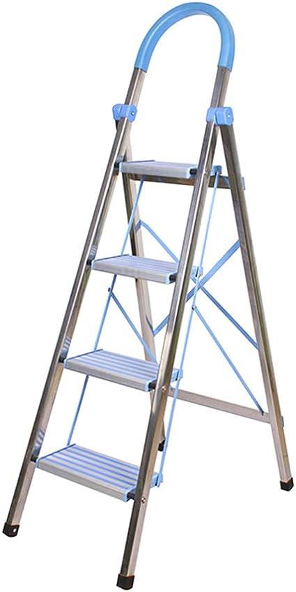 Liuwenan Escalera de Acero Inoxidable de Escalera de Acero Inoxidable Escalera de Mano Plegable Escalera Antideslizante escaleras, Teniendo Peso 150 kg (Color : Blue, Size : 75 * 46 * 144CM): Amazon.es: Hogar