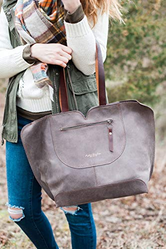 (Gray Leather Tote handcrafted Bag/Oversize Everyday Carry Shoulder Bag)