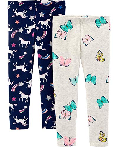 Carter's Girls' Little 2-Pack Leggings, Butterfly/Unicorn, 4T