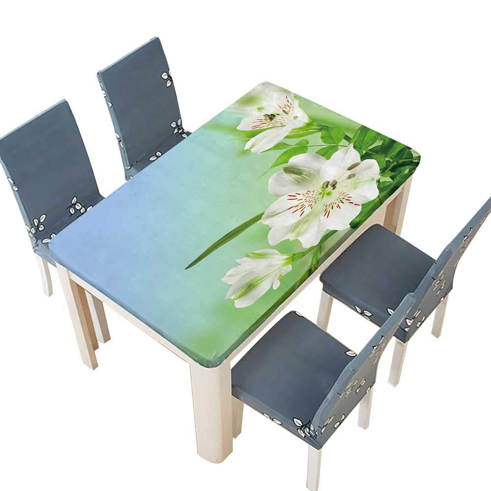 PINAFORE Polyester Tablecloth Table Cover Flowers White Lily with Green leafes on Blue Background Kitchen Tablecloth Picnic Cloth W53 x L92.5 INCH (Elastic Edge)