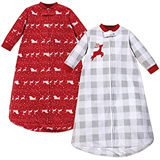 Hudson Baby Unisex Baby Long Sleeve Fleece Sleeping Bag, Santas Sleigh, 0-9 Months
