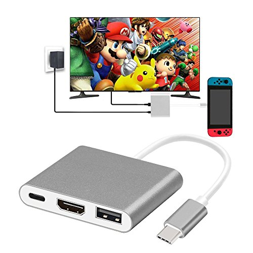 GOOJODOQ HDMI Type C Hub Adapter for Nintendo Switch,HDMI Converter 4K HD for Nintend Switch USB-C Hub Mini Multiport Switch Compatible with Samsung S10 MacBook(Grey)