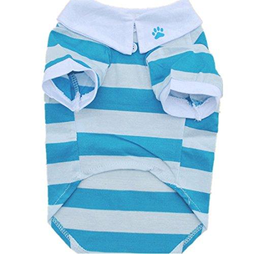 - Sumen New Cute Small Pet Stripe T-Shirt Cotton Puppy Dog Clothes(XS, Blue)