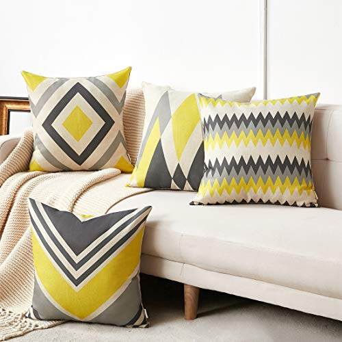 WLNUI Set of 4 Pillow Covers,18x18 Pillow Covers Modern Simple Yellow /Dark Gray Geometric Style Cotton Linen Burlap Square Decorative Throw Pillow Covers (And Pillows Gray Yellow)