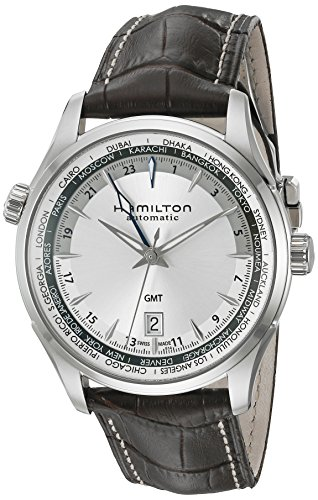 Hamilton Men's 'Jazzmaster' Swiss Automatic Stainless Steel and Brown Leather Casual Watch (Model: H32605551)