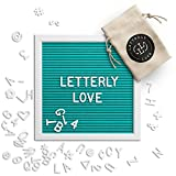 Letterly Love Letter Board - 10x10 White Frame - Aqua Turquoise Felt Letterboard
