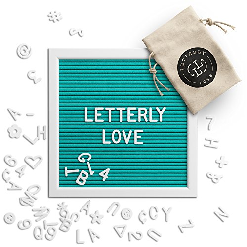 Letterly Love Letter Board - 10x10 White Frame - Aqua Turquoise Felt Letterboard by Letterly Love
