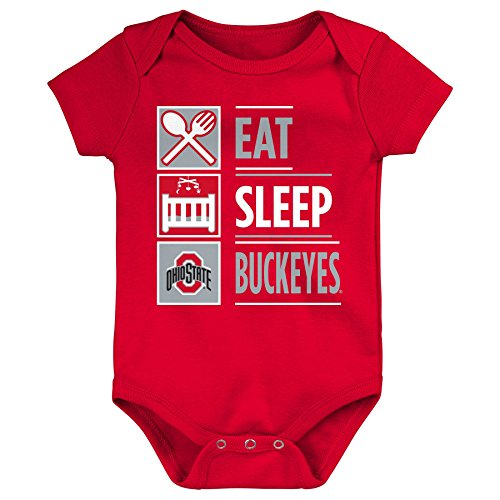 Cotton Ohio Onesie (NCAA Ohio State Buckeyes Newborn & Infant All I Do Short Sleeve Bodysuit, Red, 18 Months)
