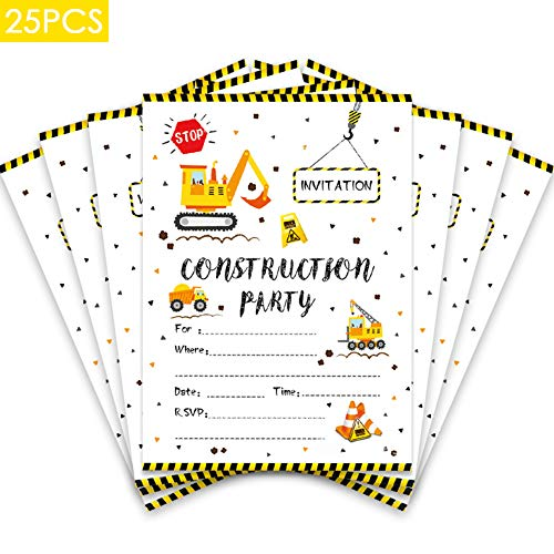 25 Pcs Construction Digger Dump Truck Birthday Party Invitations,Double Sided Construction Invitations for Boys, Kids Party Supplies]()