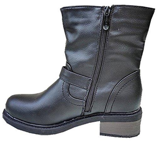 Calzado para mujer botines rellenos fur peletería talón SM170 cuadrado, color negro