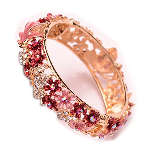 Rose Retro Enamel Hollow Handcrafted Gold plating Bangle Bracelet with Nature Crystals for Gift ()