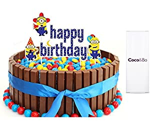 X CocoBo Minion Happy Birthday Cake Topper Minions Inspired - Happy birthday bob cake