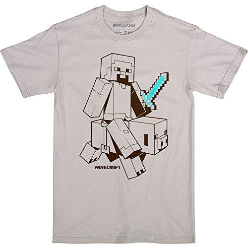 JINX Minecraft Sketchy Steve Boys' Tee Shirt, Silver,