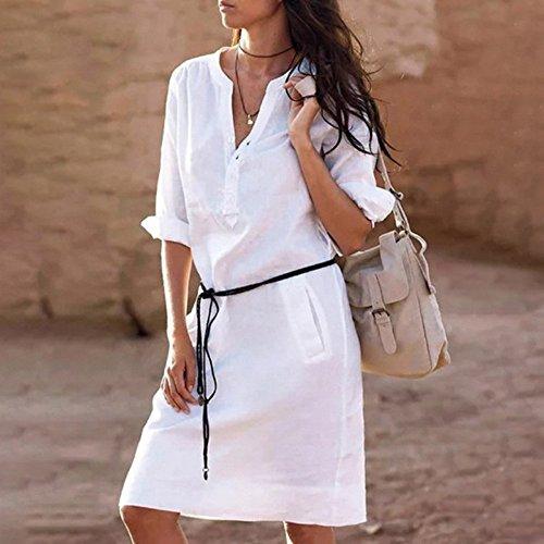 Vestidos Largos Mujer,Modaworld �?Vestidos de Camisa de Bolsillo de Botones Casuales para Mujeres Vestido de Camisa de Fiesta Sexy Falda Camisetas Ropa ...