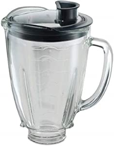 Oster 004936–050–000 Blender Round Glass Jug for 6 Cups (1.5 Litres) + Lid, Round, Black
