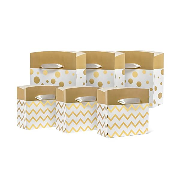 holiday gift box bags with handles 6 pack small and medium combo set chevron and polka dot designs in white and gold for christmas presents