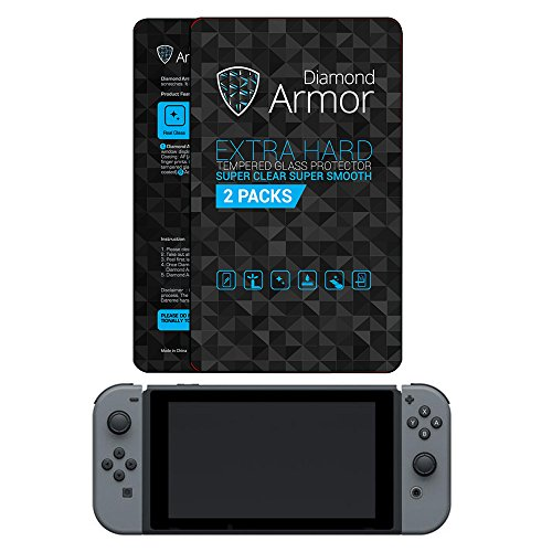 BEST Nintendo Switch Tempered Glass Screen Protector 2017 DIAMOND ARMOR (2-PACK) – Anti-Bubble, Anti-Scratch with HIGH QUALITY ACCESSORY PACK