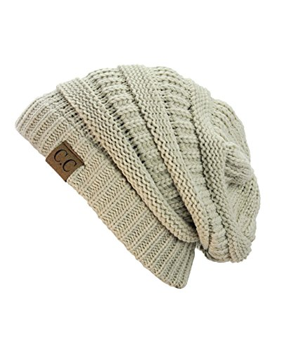 Unisex Trendy Warm Chunky Soft Stretch Cable Knit Slouchy Beanie Skully, Beige, One size