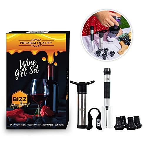 7-Piece Kit) Vacuum Pump Saver and Preserver, Foil Cutter, Cork Remover, 4 Stoppers | Reusable, Ecofriendly | Retain Flavors & Aromas | Men, Women ()