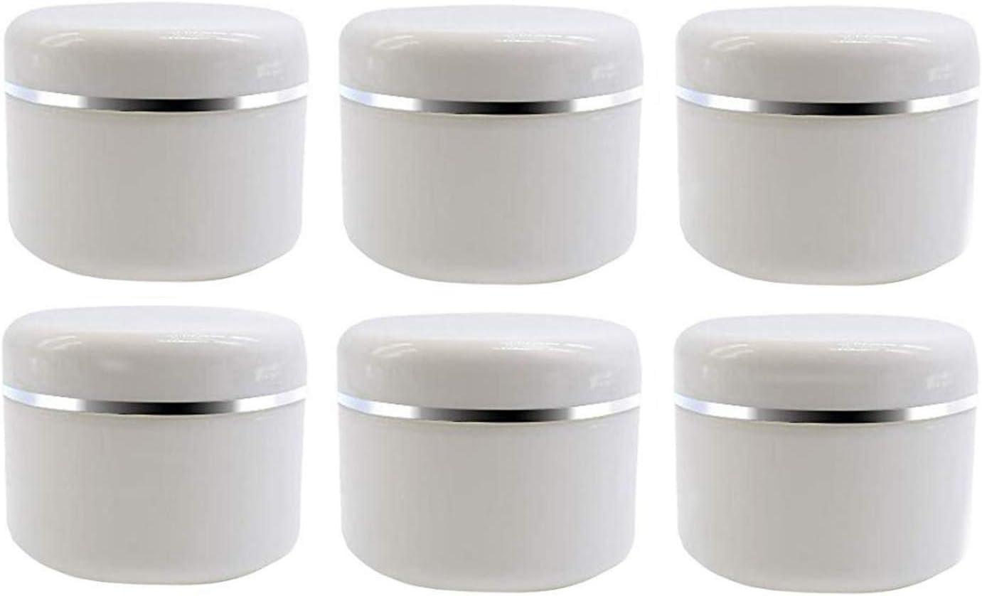 ericotry - Tarros de plástico vacías con tapa de cúpula, 20 ml, 50 ml, 100 ml, color blanco y plateado