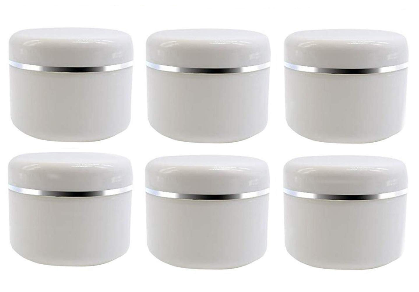20ml/50ml/100ml White Silver Edge Empty Refillable Cosmetic Plastic Jars with Dome Lid Make Up Face Cream Lip Balm Lotion Storage Container Travel Case Bottle Pot Pack of 6 (20ml/0.67oz)