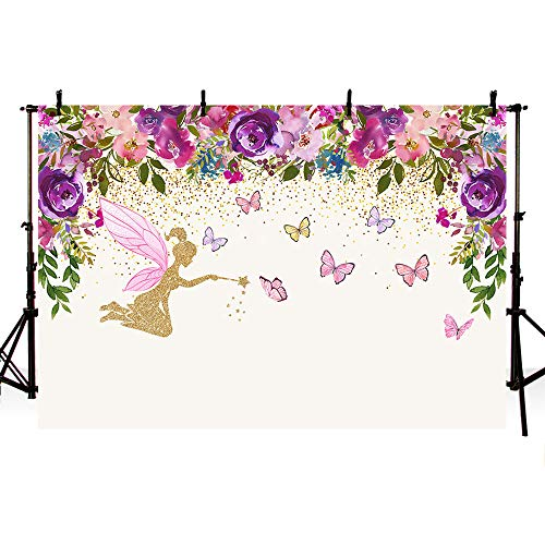 MEHOFOTO Spring Fairy Princess Birthday Party Photo Studio Booth Backgrounds Tinkerbell Pink Purple Flowers Fairy Baby Shower Butterfly Girl Photography Backdrop Banner -