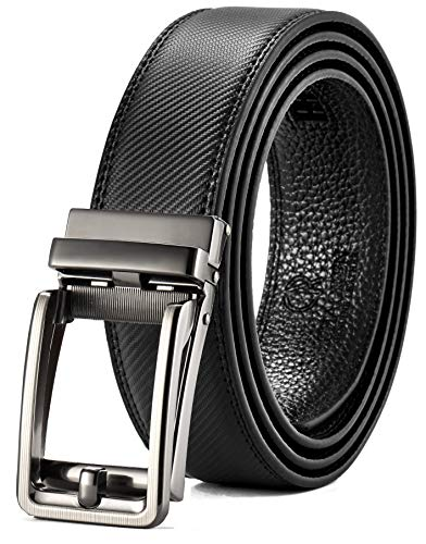 (Leather Ratchet Belt for Men with One Click Buckle-Trim to Custom Comfort Fit&Adjustable Dress,Gift Box)