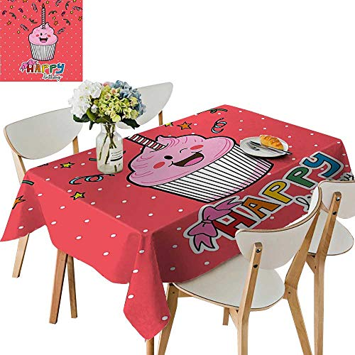 UHOO2018 Square/Rectangle Polyester Tablecloth Table Cover Pink Strawberry Cupcake with Candle Cute Face Confetti Bow Tie Dots for Dining Room,52 x 70inch ()