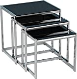 Xpress Delivery Hanley Nest of Tables in Black Glass and Chrome