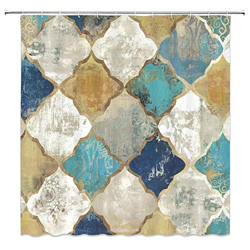 AMFD Geometric Shower Curtain Retro Cubes Nostalgic Creative Diamond Ethnic Old Look Blue Beige Bathroom Curtains Decor Polyester Fabric Waterproof 70 X 70 Inches Include Hooks (Blue Retro Shower Curtain)