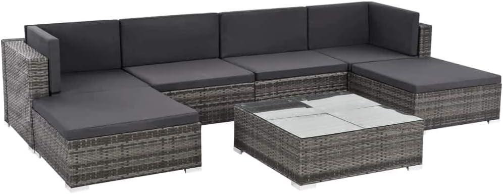 Namotu vidaXL 7-TLG. Garten-Lounge-Set mit Auflagen Poly Rattan Grau