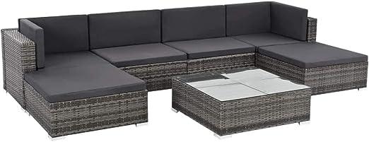 Festnight - Sofá de jardín de Resina Trenzada, mobiliario Exterior para terraza, sofá de salón de Patio de Resina Trenzada Gris + cojín Gris Oscuro: Amazon.es: Hogar
