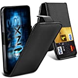 ONX3® (Black) BLU Advance 4.0 L Universal Luxury Style Folding PU Leather Spring Clamp Holder Top Flip Case with 2 Cards slot, Slide Up and Down Camera