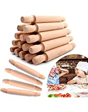 20 Pieces Mini Rolling Pins for Crafts, 6 Inch Wooden Kids Mini Rolling Pin Dumpling Ravioli Rolling Pin Dough Roller, French Rolling Pin for Children Fondant Pasta Pastry Pizza Crafting Baking