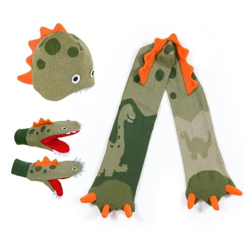 hot Kidorable Green Dinosaur Soft Hat/Scarf/Mitten Set for Boys With Fun Dino Puppet Mouth for cheap