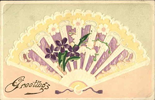 Purple Fan With Violets Fans Original Vintage Postcard